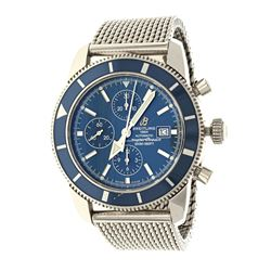 WATCH: Steel Breitling Superocean 200M watch, blue dial with 3 sub dials, date @ 3:00, 46mm case, 42