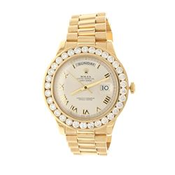 ROLEX: 18k yellow gold Rolex DayDate II President watch, champagne dial with roman numerals, afterma