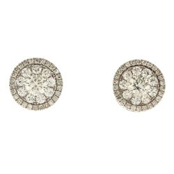 EARRINGS:  [1 pair] 18 karat white gold earrings and earring jackets set with 68 round single cut di