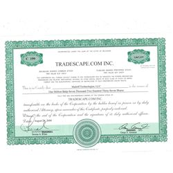 COLLECTIBLE CERTIFICATE: 1,067,237 shares of Tradescape.com Inc stock in the name of Madoff Technolo