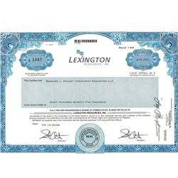 COLLECTIBLE CERTIFICATE: 875,000 shares of Lexington Resources Inc stock registered owner name Berna