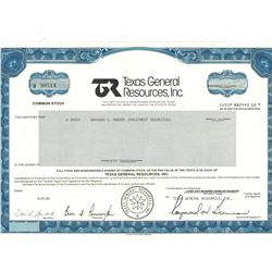 COLLECTIBLE CERTIFICATE: 50,000 shares of Texas General Resources Inc registered owner name Bernard