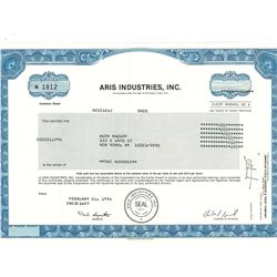 COLLECTIBLE CERTIFICATE: 200 shares of Aris Industries Inc Stock registered owner name Ruth Madoff C