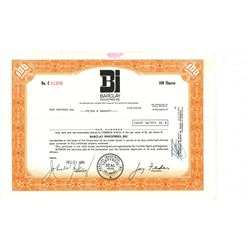 COLLECTIBLE CERTIFICATE: 100 shares of Barclay Industries Inc Stock registered owner name Peter B Ma