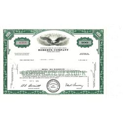 COLLECTIBLE CERTIFICATE: 100 shares of Roberts Company stock registered owner name Bernard L Madoff.