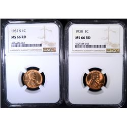 1937-S & 38 LINCOLN CENTS NGC MS-66 RD