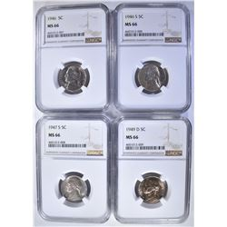 4 JEFFERSON NICKELS ALL NGC MS-66