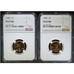 2 - 1955 LINCOLN CENTS NGC PF67 RD