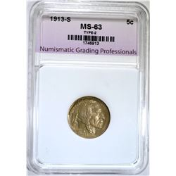 1913-S TYPE-2 BUFFALO NICKEL, NGP CH BU