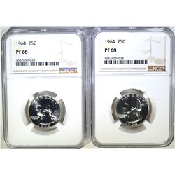 2 - 1964 WASHINGTON QTRS NGC PF68