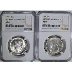 2-1946-S B.T. WASHINGTON HALVES, NGC MS-65