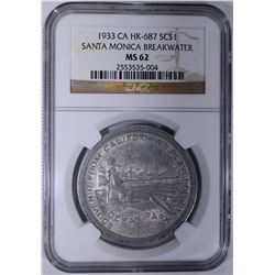 1933 CA HK-687 SO CALLED DOLLAR, NGC MS-62