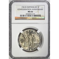 1941B SWITZERLAND 5 FRANKS NGC MS66