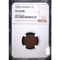 1922 CANADIAN CENT, NGC VF-25