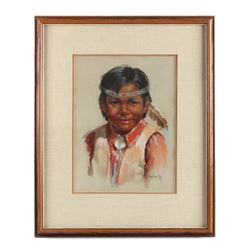 Original Arlene Hooker Fay Indian Boy Painting