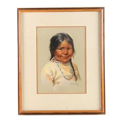 Original Arlene Hooker Fay Indian Girl Painting