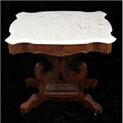 Antique Victorian Parlor Table w/ Marble Top