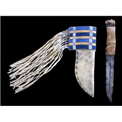 Comanche Quilled & Beaded Sheath & Trade Knife