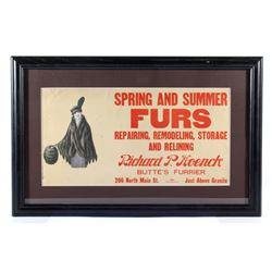 Richard P Hoenck Furrier Trolley Cart Ad c. 1917