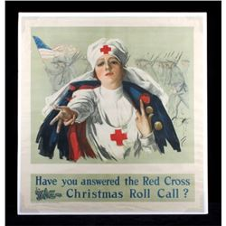 Original WWI Red Cross Christmas Roll Call Poster