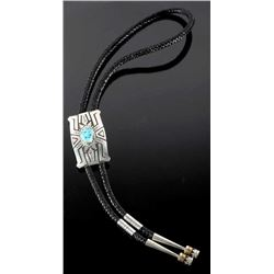 Singer Navajo Brawny Sterling & Turquoise Bolo