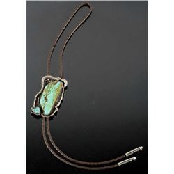 Signed Navajo Royston Turquoise & Sterling Bolo