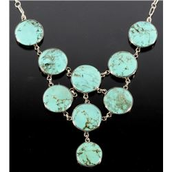 Navajo Cripple Creek Turquoise & Silver Necklace