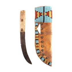 Lakota Sioux Beaded & Tacked Sheath w/ Trade Knife