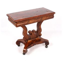 Antique Empire Style Burl Veneer Game Table