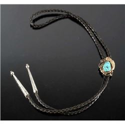 Signed Navajo Gold Filled & Turquoise Bolo-Tie