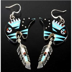 Signed Zuni Inlaid Mosaic Bear & Feather Earrings