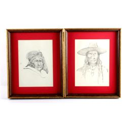 Original Tom Sander Indian Pencil Sketches