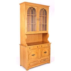 Two Piece Maple Breakfront China Curio Cabinet