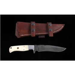 CFK Damascus Exotic Camel Bone Knife & Scabbard