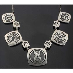Signed Hopi Finely Engraved Silver Charm Necklace