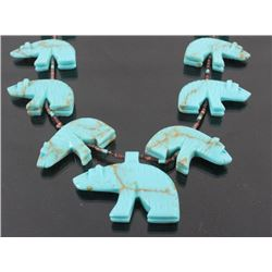 Navajo Turquoise Carved Bear Effigy Necklace