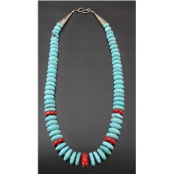 Navajo Discoidal Turquoise & Coral Necklace