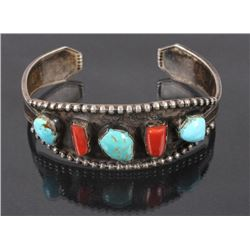 Navajo Sterling Silver Turquoise & Coral Bracelet