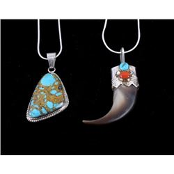 Navajo Bear Claw Pendent and Turquoise Pendent