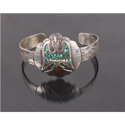 Navajo Chip Turquoise & Coral Water Bird Cuff