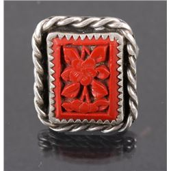 Navajo Oxblood Coral Floral Ring
