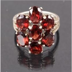 Sterling Silver Red Garnet Cocktail Ring