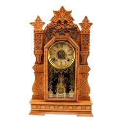 Early Pressed Oak Ornate Ivy Kitchen Clock c. 1908