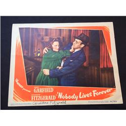 """1946 """"NOBODY LIVES FOREVER"""" LOBBY SCENE CARD, SIGNED BY GERALDINE FITZGERALD"""