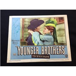 """1949 """"THE YOUNGER BROTHERS"""" LOBBY SCENE CARD, SIGNED BY JANIS PAIGE"""