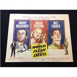 """1959 """"THE WORLD, THE FLESH AND THE DEVIL"""", LOBBY TITLE CARD, #1 IN SET, SIGNED BY HARRY BELAFONTE"""