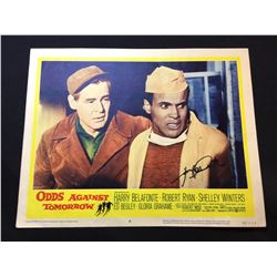 """1959 """"ODDS AGAINST TOMORROW"""" LOBBY SCENE CARD, #6 IN SET, SIGNED BY HARRY BELAFONTE"""
