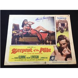 """1953 """"SERPENT OF THE NILE"""" LOBBY SCENE CARD, #9 IN SET, SIGNED BY RHONDA FLEMING"""