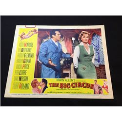"""1959 """"THE BIG CIRCUS"""" LOBBY SCENE CARD, #2 IN SET, SIGNED BY RHONDA FLEMING"""