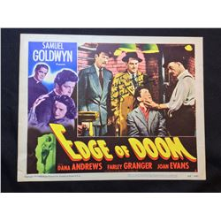 """1950 """"EDGE OF DOOM"""" LOBBY SCENE CARD, #3 IN SET, SIGNED BY DOUGLAS FOWLEY"""